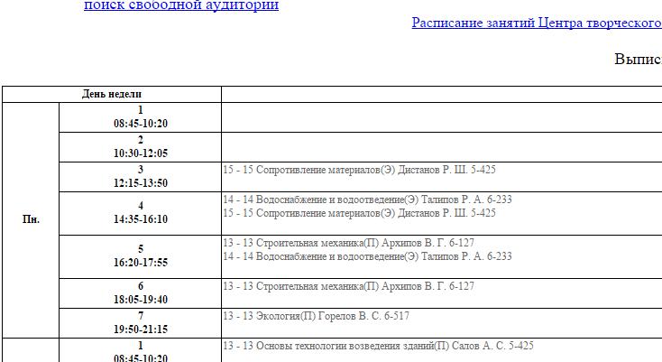 Расписание УГНТУ АСФ