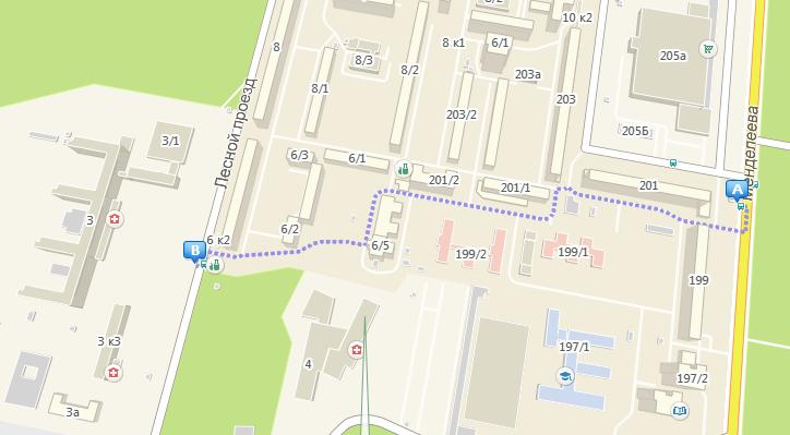 Схема маршрута 266 маршрута